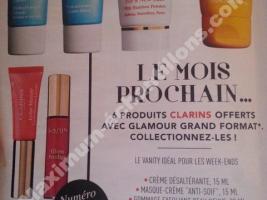 Mini produit Clarins 15ml offert pour l'achat du magazine Glamour (grand format)