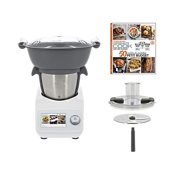 Robot cuiseur Compact Cook Platinum + découpe légumes + panier vapeur + livre de recettes