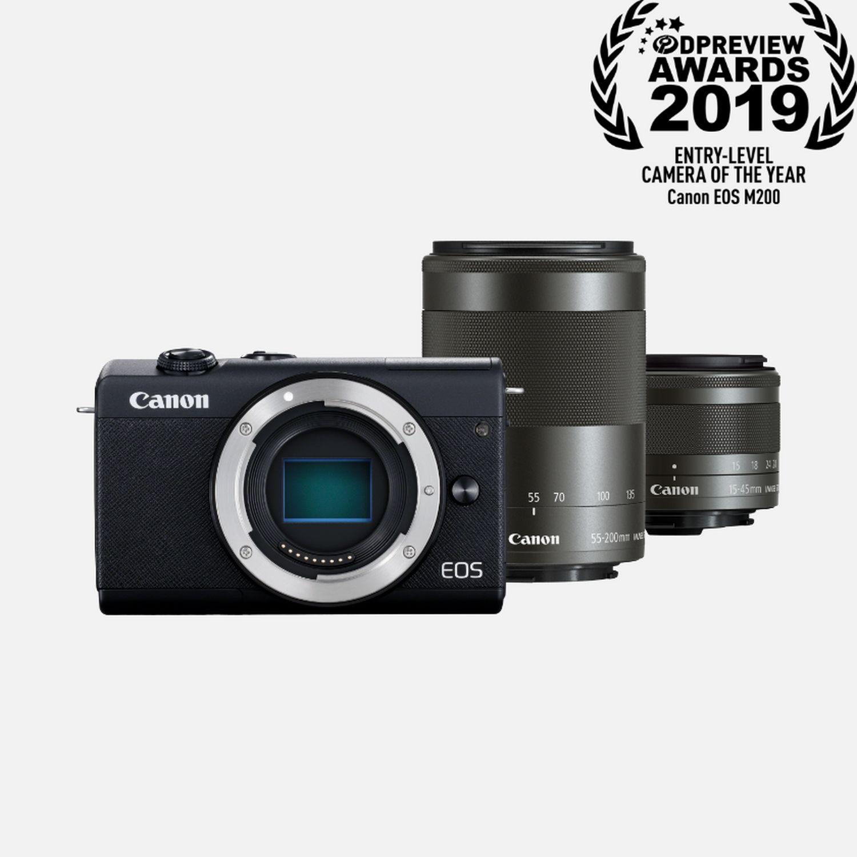 Appareil photo hybride Canon EOS M200 (Noir) + objectifs EF-M 15-45mm & EF-M 55-200mm