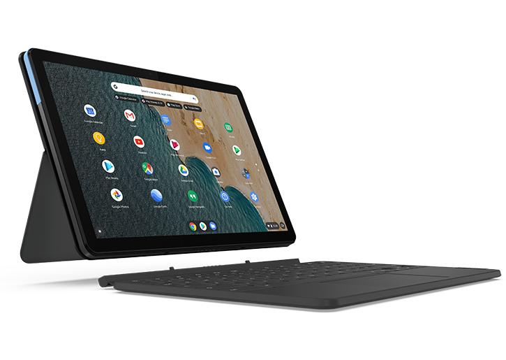 """PC Chromebook 10.1"""" Lenovo Duet Wi-Fi - 4 Go, 128 Go, Chrome OS (Bleu/Gris) + clavier & socle"""