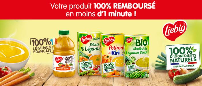 Un produit Liebig mouliné, soupe ou velouté au choix gratuit en magasin ou drive - 100% remboursé via Shopmium