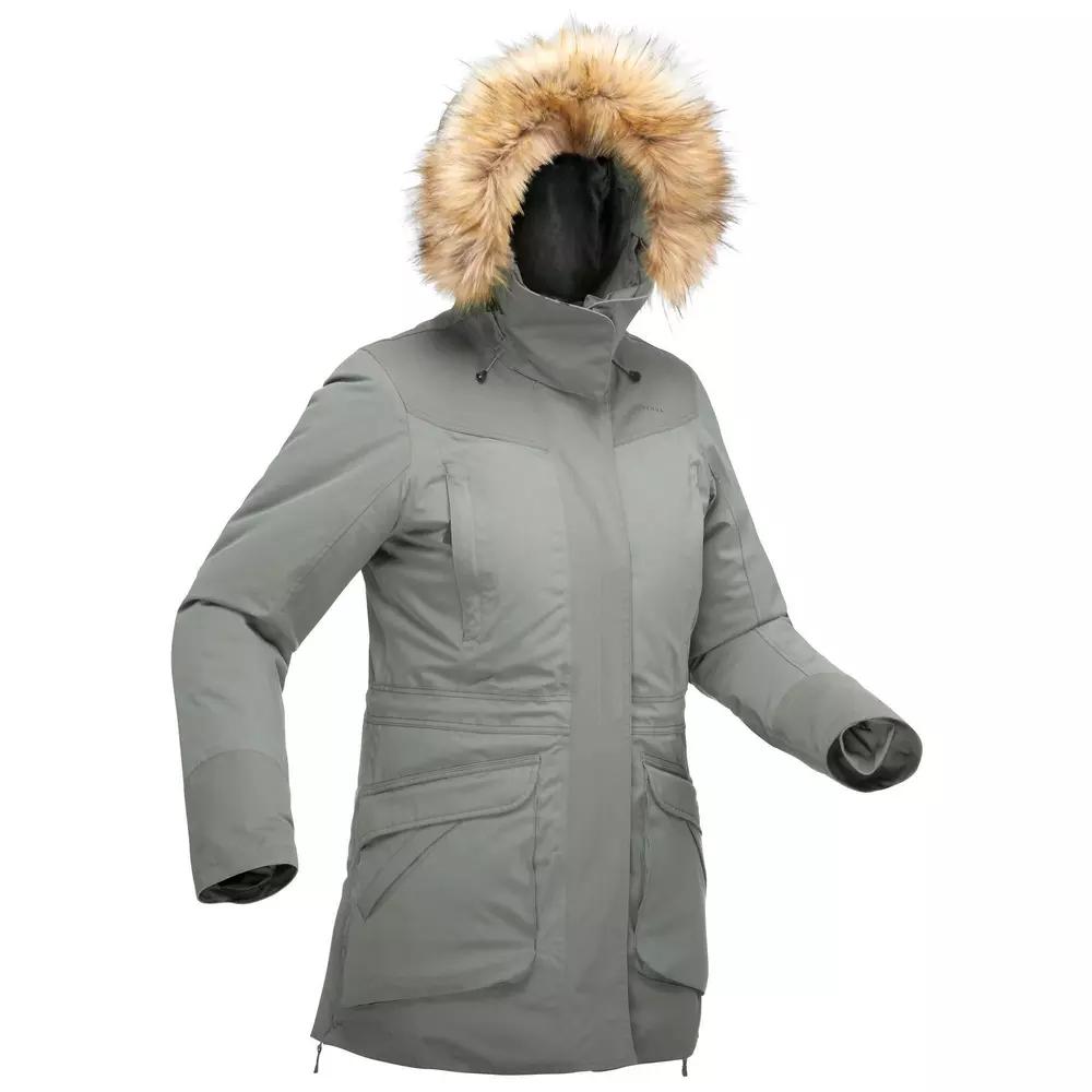 Parka chaude imperméable de randonnée neige Quechua U-Warm SH500 pour Femme - Bleu Noir ou Ocre Jaune, Tailles au choix