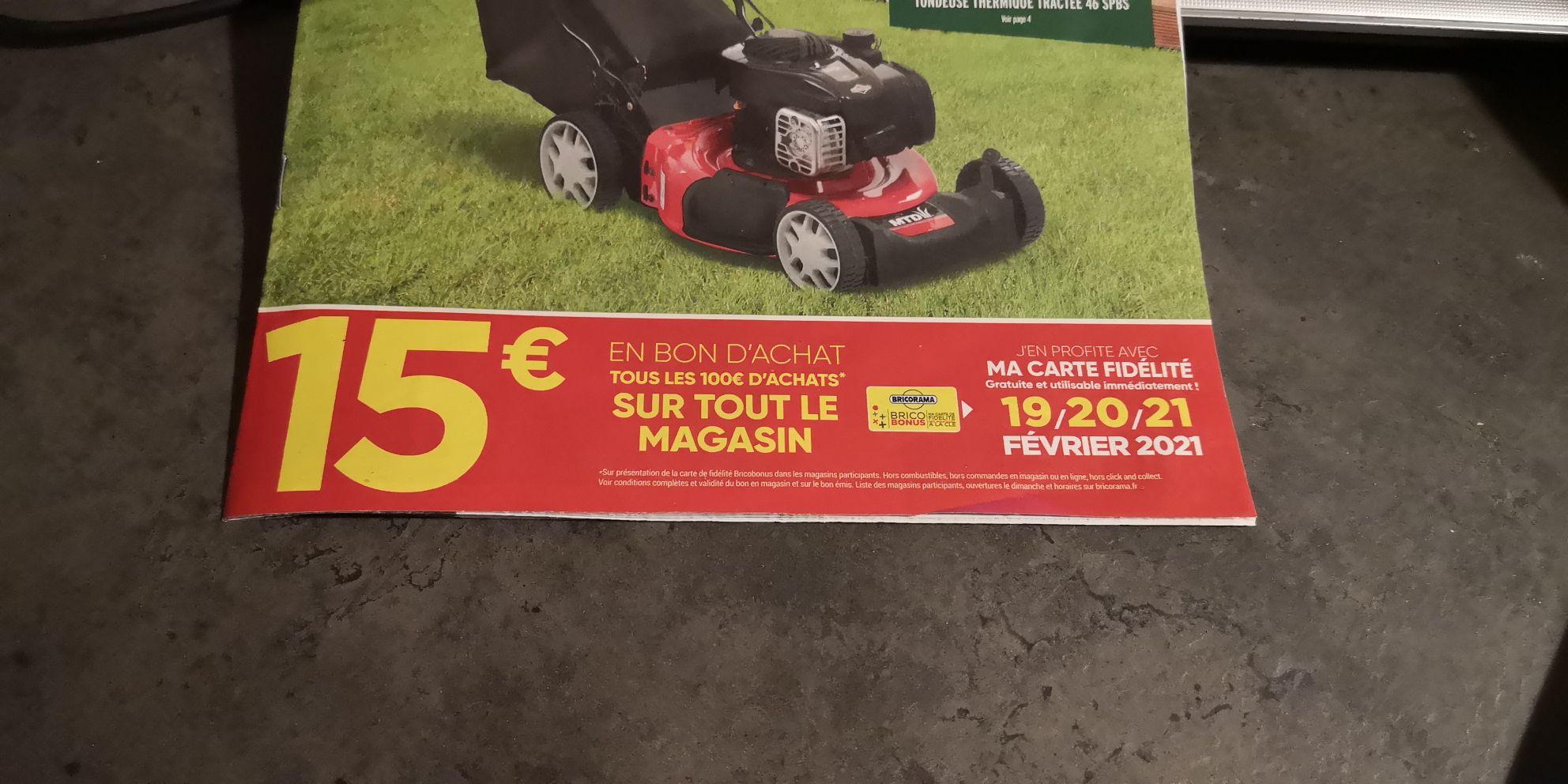 [Carte Fidélité] 15€ offerts en bon d'achat tous les 100€ d'achats