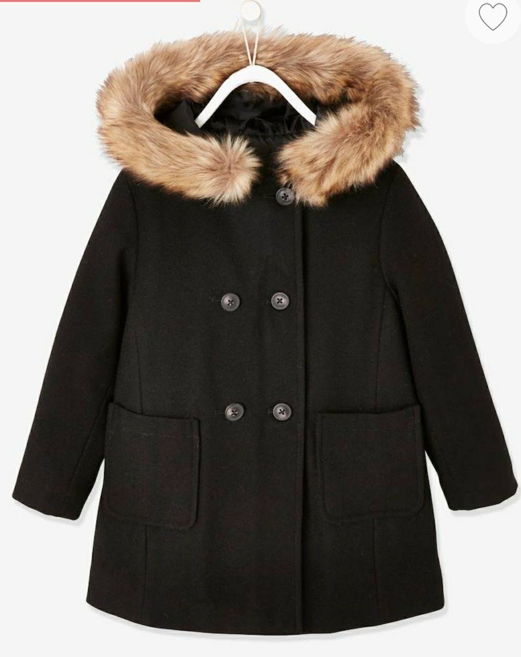 Duffle-coat à capuche fille en drap de laine- 2 à 7 ans