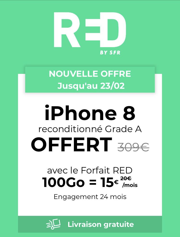 [Nouveaux clients] iPhone 8 Reconditionné + 24 mois Forfait Red 100 Go Appels, SMS/MMS illimités