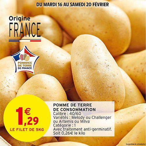Filet de pommes de terre de consommation Catégorie 1 Origine France - 5Kg