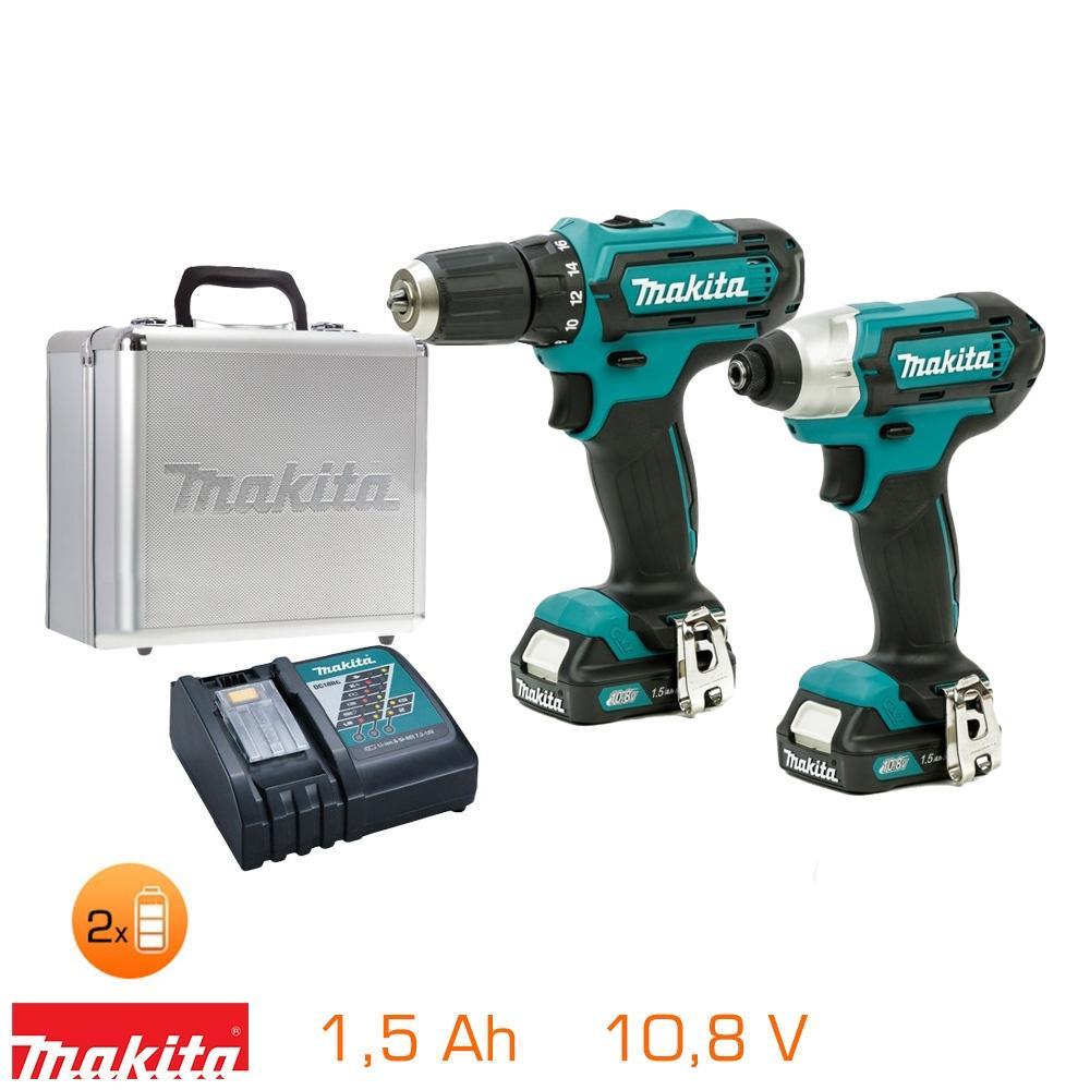 Pack Makita Perceuse visseuse + Visseuse à chocs 10,8V - 2 bat Li-Ion 1,5Ah + chargeur + coffret