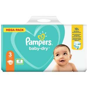 Mega Pack Couches Pampers Baby Dry - Différentes tailles (Via 15,95€ sur Carte Fidélité )