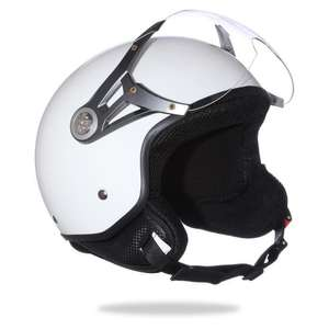 Casque Demi-Jet blanc brillant - M, L ou XL