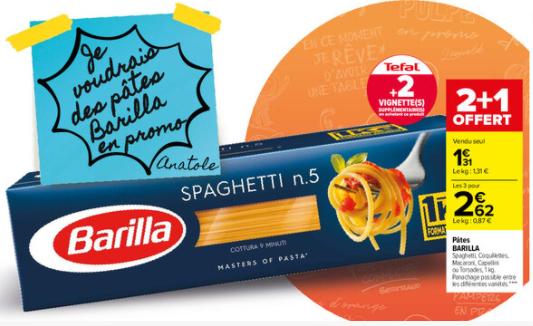 Lot de 3 paquets de 1kg de pâtes Barilla - Spaghetti, Coquillettes, Capellini, Torsades ou Macaroni (3x 1kg)