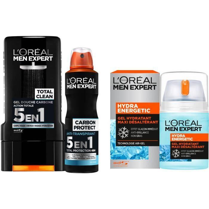 Lot L'Oréal Men Expert: Gel douche 300 ml + Déodorant spray 50 ml + Soin hydratant 50 ml