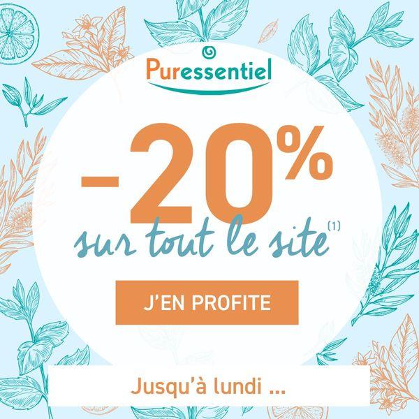 20% de réduction sur tout le site Puressentiel + cadeau offert dès 40€ d'achat + livraison offerte dès 30€ d'achat - fr.Puressentiel.com