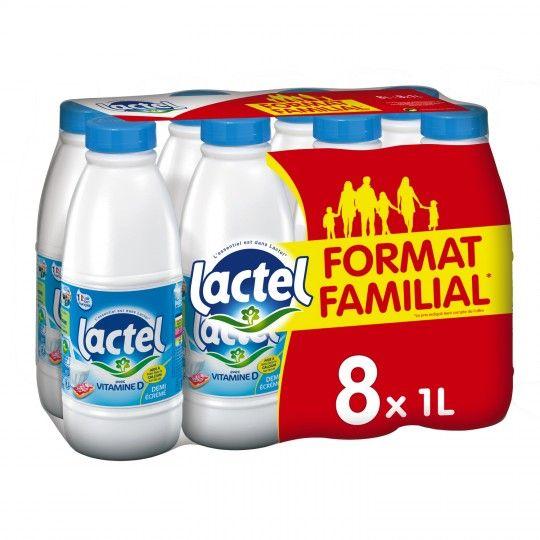 Pack de 8 litres de lait Lactel demi écrémé ou écrémé - 8x 1L (Via 1.61€ sur la carte fidélité)