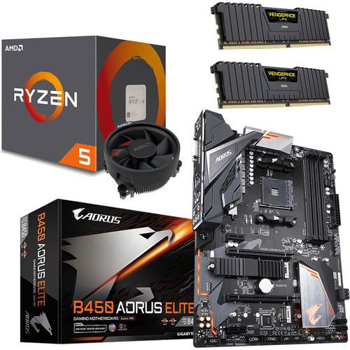Kit Evo : Processeur AMD Ryzen 5 1600 AF + Carte Mère Gigabyte B450 Aorus Elite + RAM DDR4 Corsair LPX 16 Go (2x 8 Go) - 3200 MHz, CL16