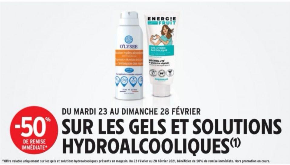 50% de réduction immédiate sur tous les gels et solutions hydroalcooliques