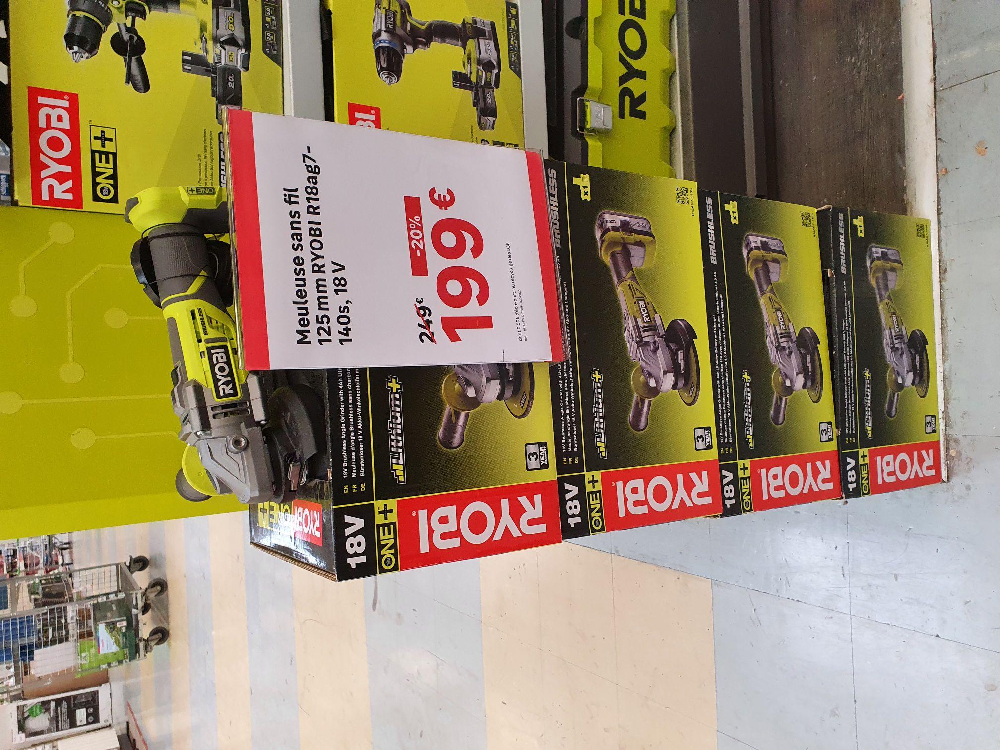 Pack meuleuse Ryobi Brushless R18AG7-140S avec Batterie 4Ah, chargeur & outil multifonctions R18MT3-0 (via ODR) - St Jean de Vedas (34)