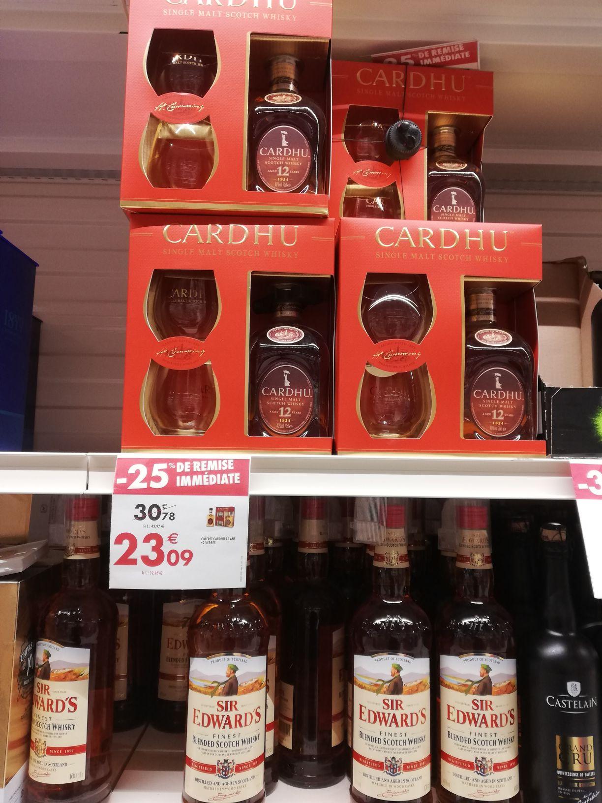 Coffret bouteille de whisky Cardhu Single Malt - 12 ans d'âge + 2 verres (Part-Dieu 69)
