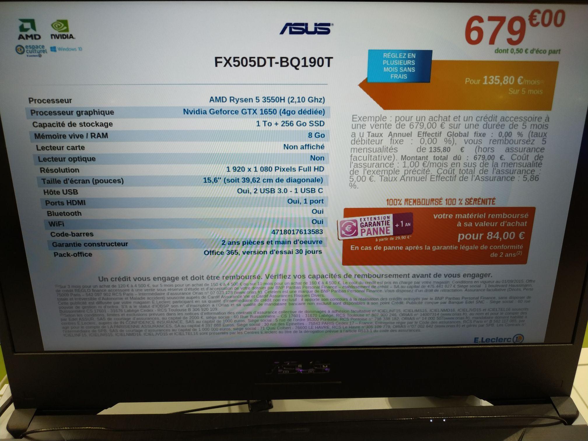 "PC Portable 15.6"" Asus FX505DT-BQ190T - Full HD, AMD Ryzen 5 3550H, 8 Go RAM, 256 Go SSD + 1 To HDD, GTX 1650, Windows 10 (Osny 95)"