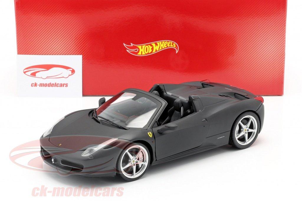Voiture miniature Ferrari 458 Italia Année 2011 noire mat 1:18 HotWheels patrimoine (ck-modelcars.de)