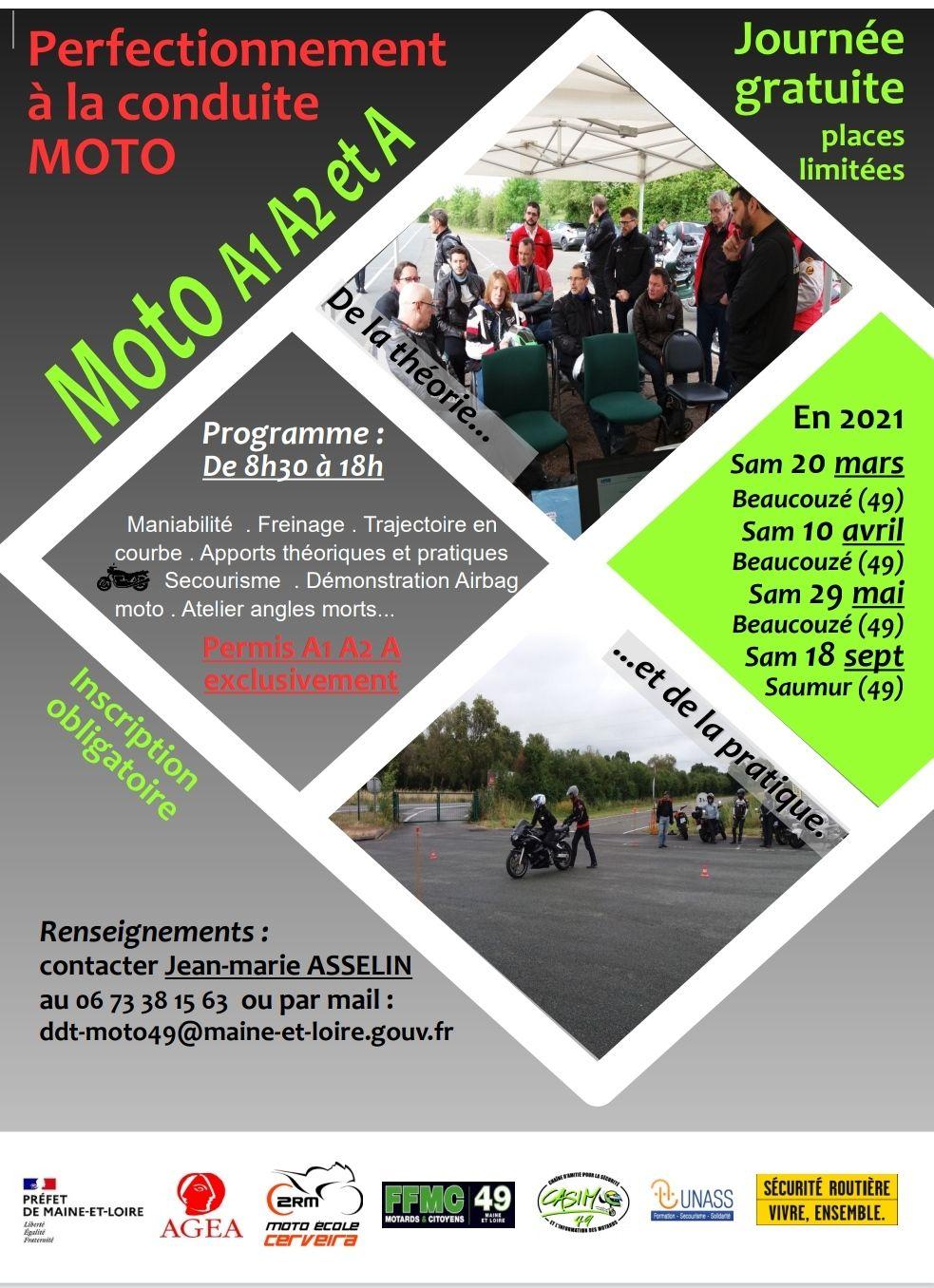 Formation Post-Permis Moto Gratuite + Repas offert - Maine et Loire (49)
