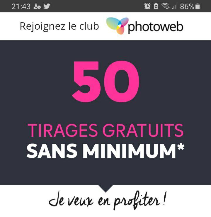 [Nouveaux clients] Lot de 50 tirages photos premium - 10x15 ou 11x15 cm (frais de port inclus)