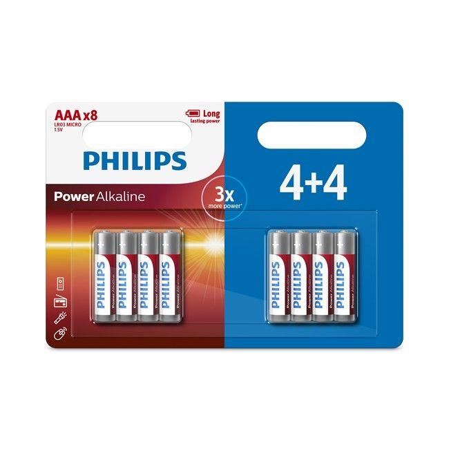 Lot de 8 piles Philips Power Alkaline - 1,5V AAA/LR03