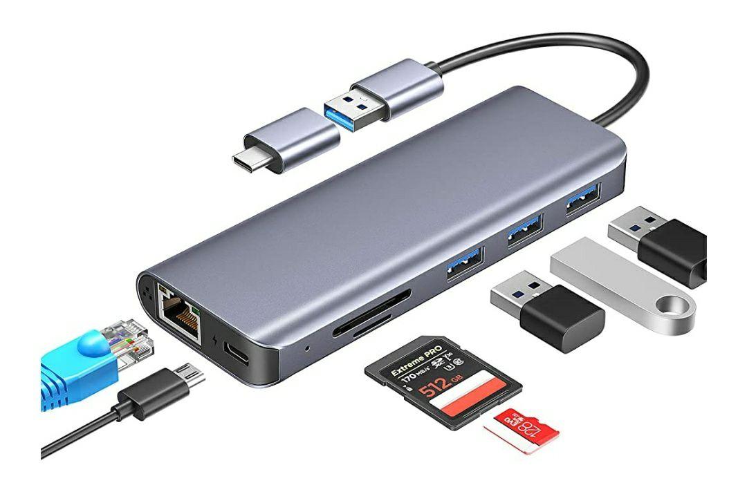 Hub USB 7 en 1 Lukikichi - RJ45, SD/TF, 3 Ports USB 3.0 + 1 Type C (Vendeur tiers)