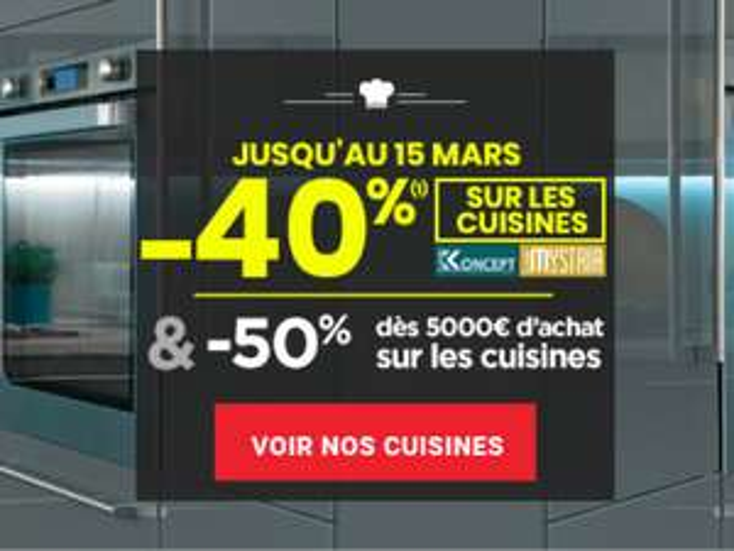 40% de réduction sur les cuisines de la gamme Mystria & Koncept