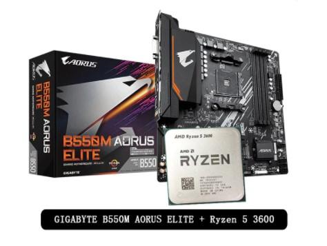 Carte Mère Gigabyte B550M Aorus Elite + Processeur AMD Ryzen 5 3600