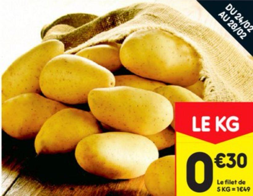 Filet de pommes de terre de consommation Origine France Catégorie 1 - 5Kg