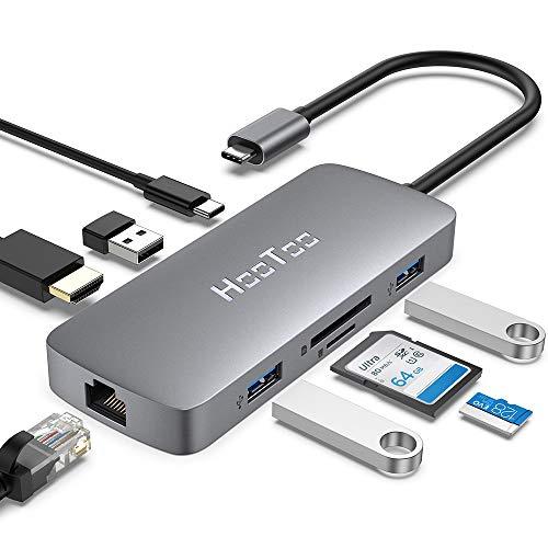 Hub USB HooToo C - 8 en 1 avec Charge PD 100W, HDMI 4K, Ethernet 1Gbps, Lecteur Carte SD/TF (Vendeur Tiers)