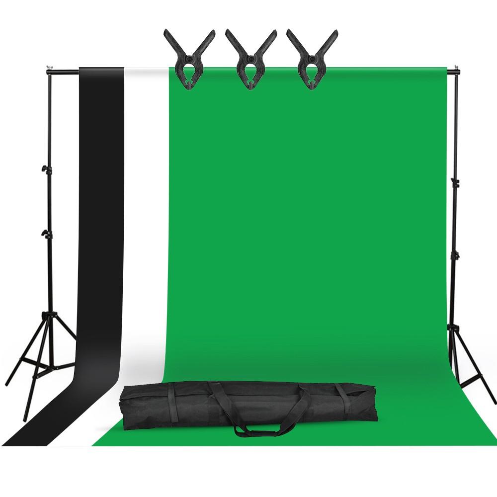 Kit de photographie studio : 3 Toiles de fond (Noir, Blanc & Vert - 1.6x3m) + Support en métal (2x3m) + 3 Pinces + Sac (Entrepôt EU)