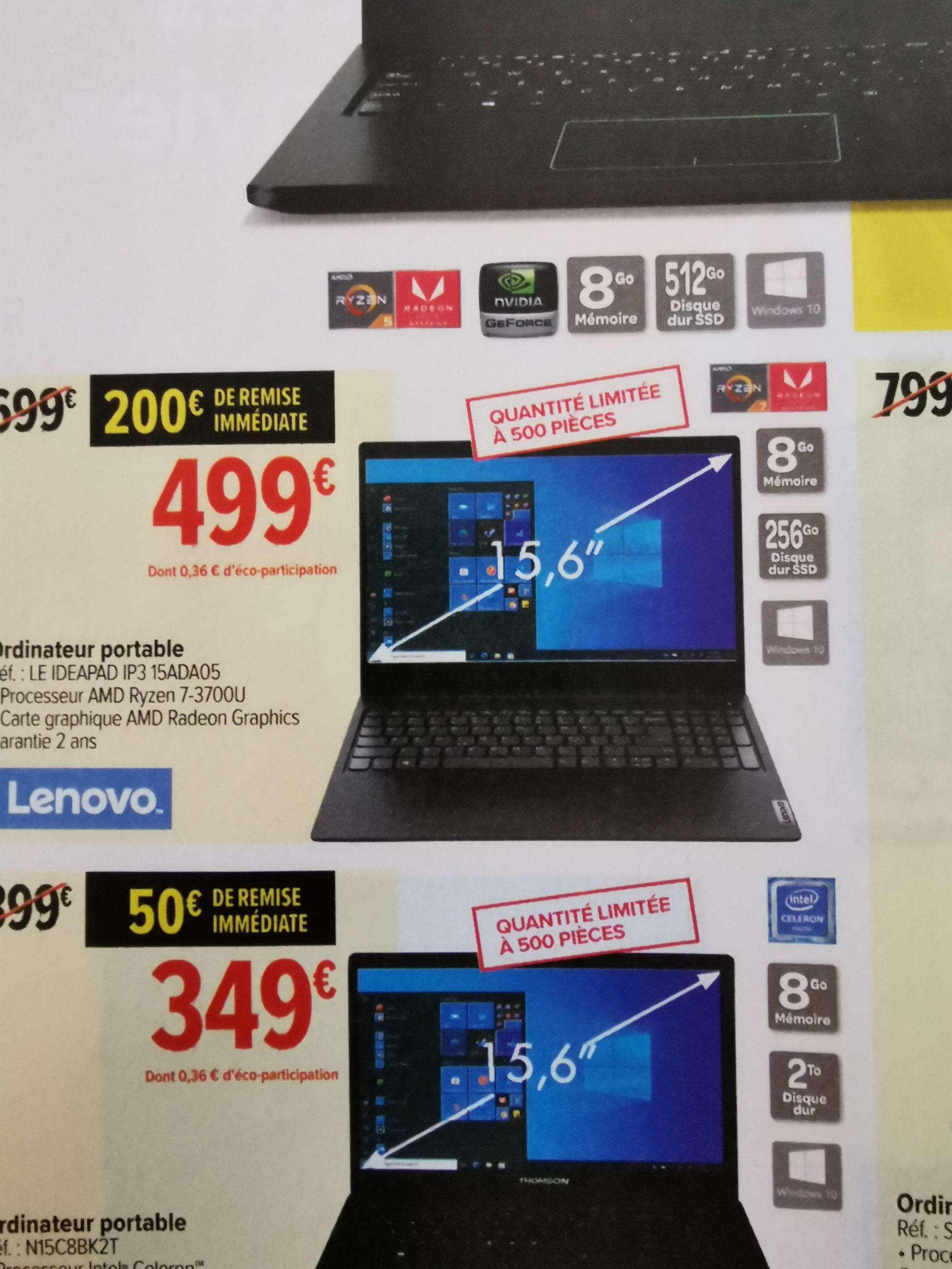 "PC Portable 15.6"" Lenovo IdeaPad 3 15ADA05 - AMD Ryzen 3700 U, 8 Go de RAM, SSD 256 Go"