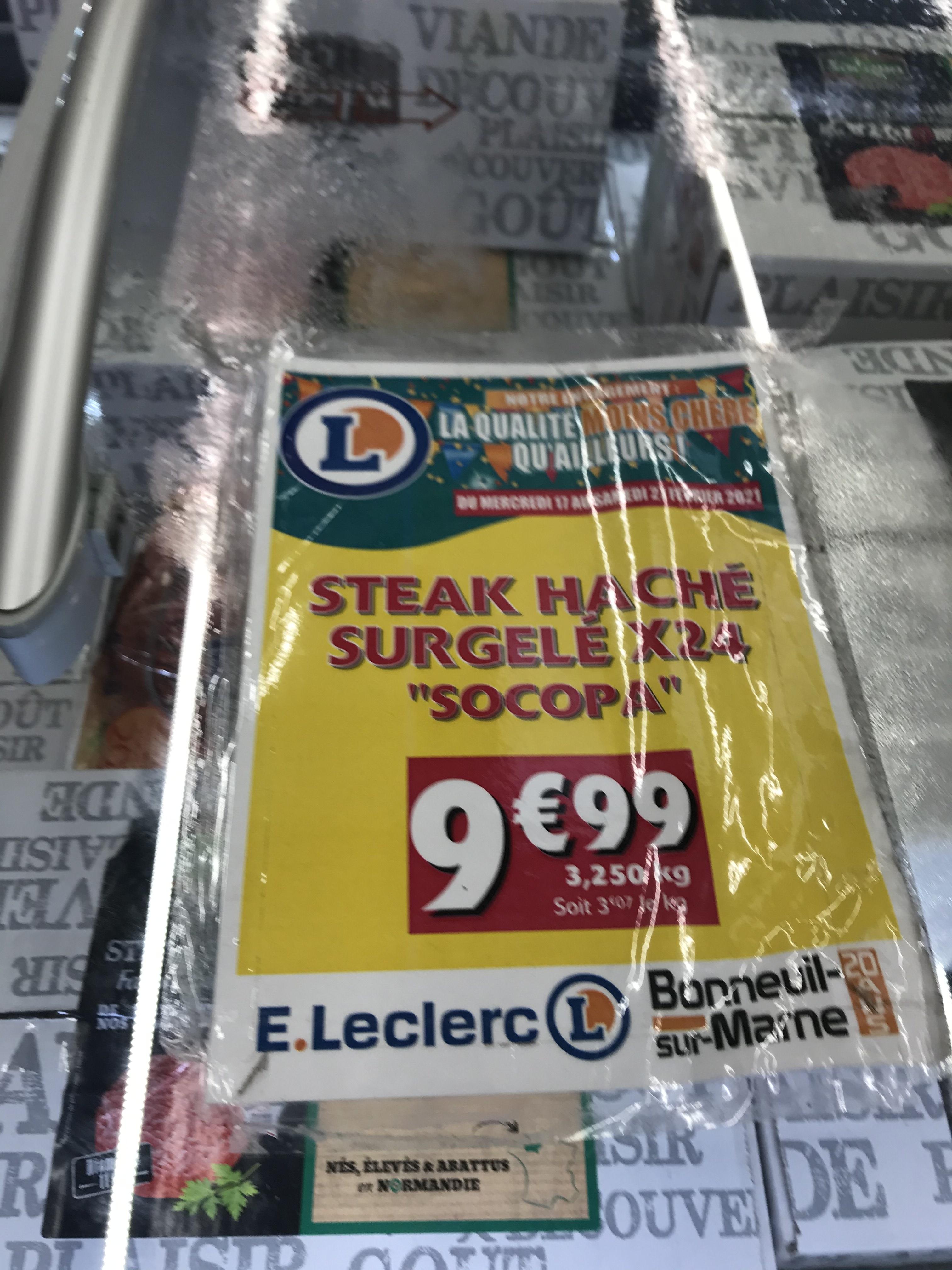 Boîte de 24 steaks hachés surgelés Socopa - Bonneuil-sur-Marne (94)