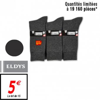 Lot de 15 paires de chaussettes Eldys hommes noires ou anthracites (du 39 au 46)