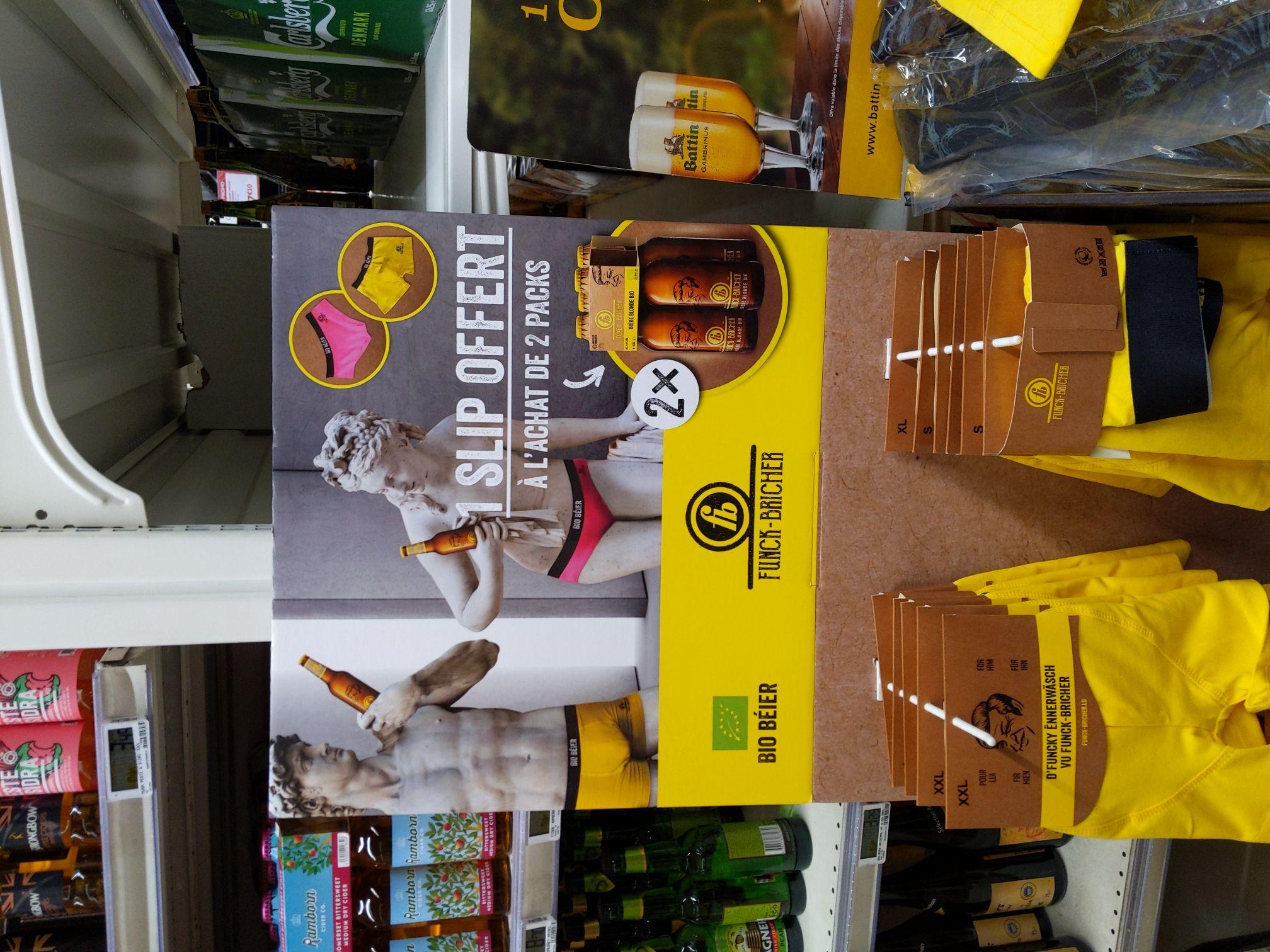 2 Packs de bières Funck-Bricher (8x 33cl) + 1 slip à thème (+0.80€ en Bon d'Achat si bouteilles rapportées) - Frontaliers Luxembourg