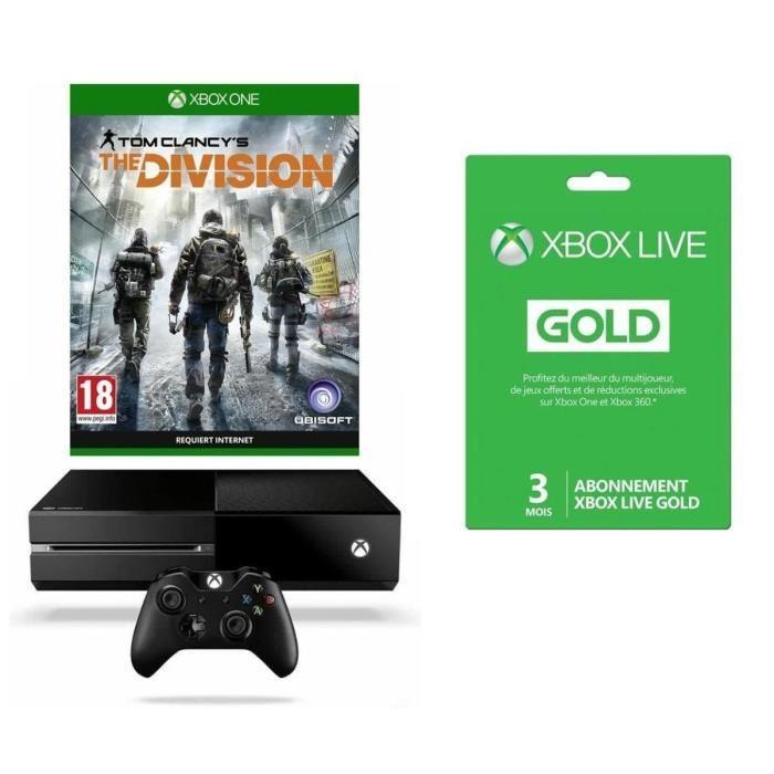 Console Microsoft Xbox One 1 To + The Division + Halo 5 ou Forza 6 ou Rise of the Tomb Raider + 3 Mois de Xbox Live