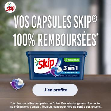 Lessive Skip capsule 3 en 1 100% remboursé via ODR parmi une sélection de références (mavieencouleurs.fr)