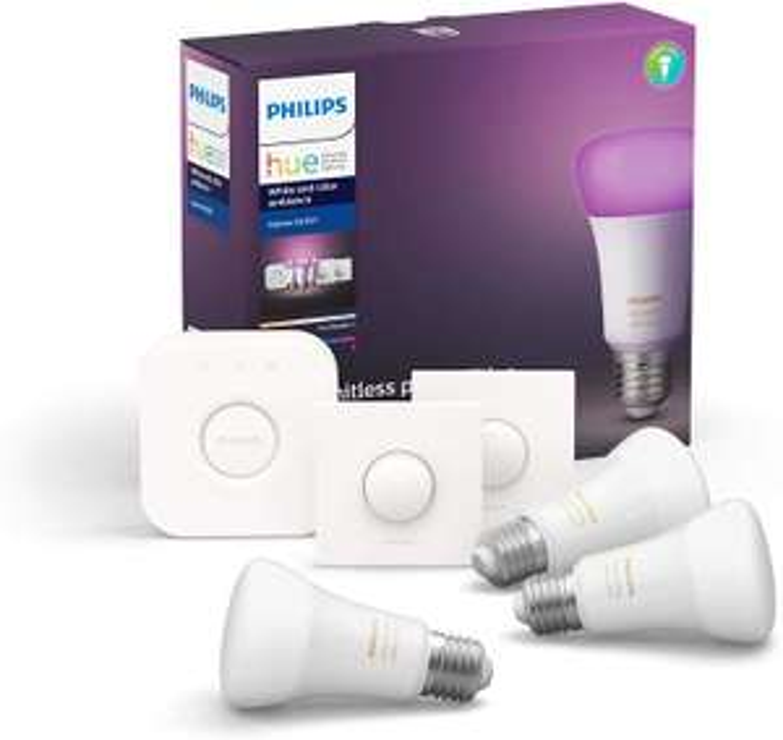 Kit de démarrage Philips Hue - 3 ampoules White & Color Ambiance E27 + pont de connexion + télécommande Smart button