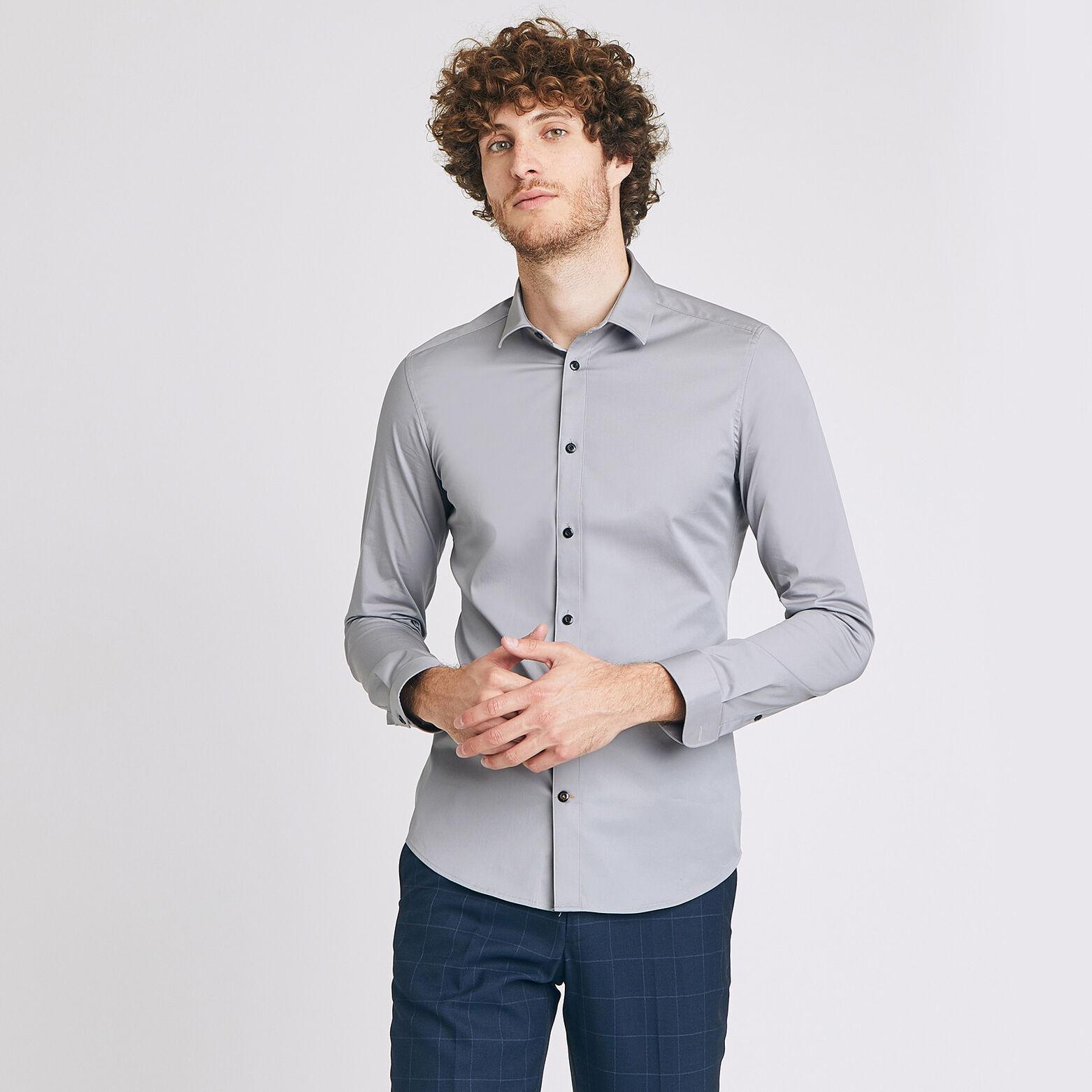 Sélection de chemises Jules en soldes à 9€ - Ex: Extra slim unie coton Gris Clair (Taille XXL)
