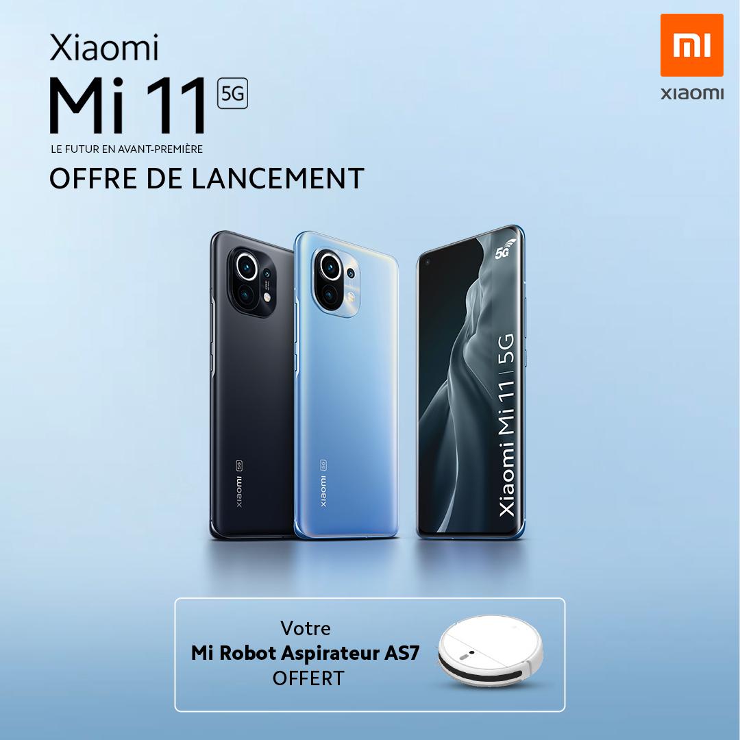 "[Précommande] Smartphone 6.81"" Xiaomi Mi 11 5G - WQHD AMOLED 120Hz, SnapDragon 888, 8Go RAM, 256Go + Robot aspirateur AS7 (Via Formulaire)"