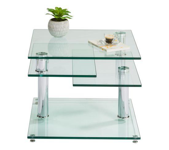 Table basse verre et chromé Modern Living Dino 2 avec 2 plateaux pivotants
