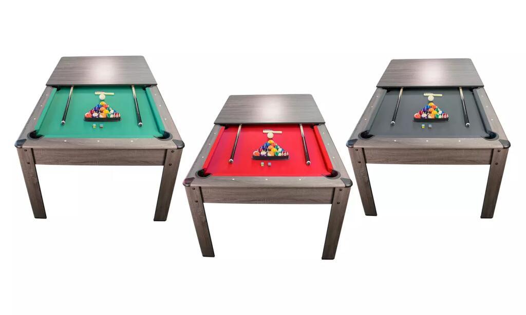 Table à manger / billard américain convertible - 206.5x116.5x80 cm, différents coloris, avec 2 sets de billes