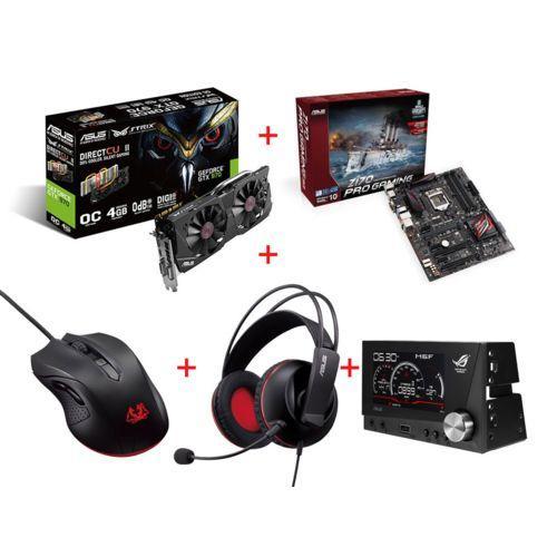 Sélection de kits gaming Asus en promotion - Ex : GeForce GTX 970 DC2 OC Strix Ed. 4 Go + Z170 Pro Gaming + Souris et casque Cerberus + Front Base Rog Rhéobus (ODR 30€)