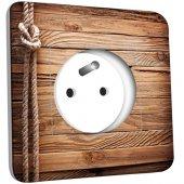 Sélection de prises électriques décorées en promotion - Ex: Bois marin (stickers-folies.fr)