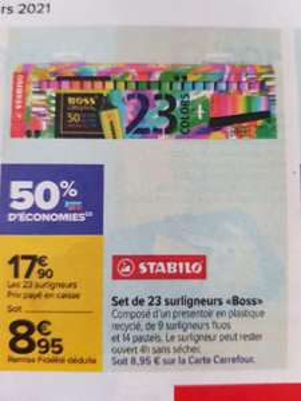 Paquet de 23 surligneurs Stabilo Boss - 9 fluos + 14 pastels (via 8.95€ sur la carte de fidélité)