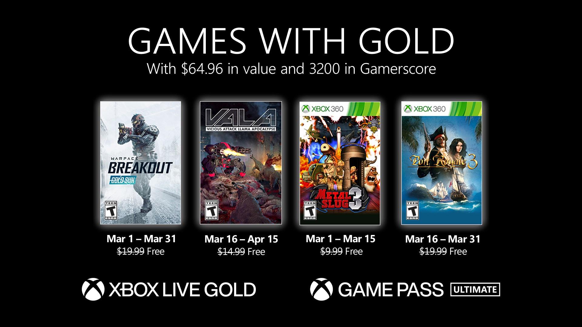 [Gold] Sélection de jeux vidéo offerts en mars (dématérialisés) - Ex : Vicious Attack Llama Apocalypse & Warface: Breakout sur Xbox One
