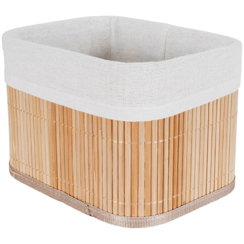 Panier en bambou avec tissu en coton - 20x15.5x14 cm