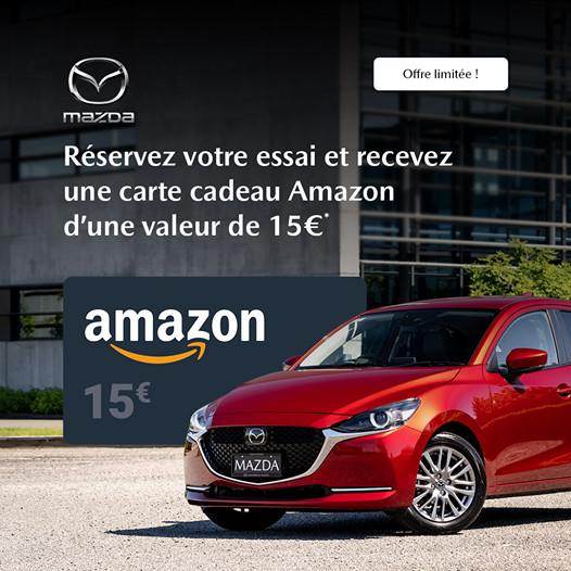 Carte cadeau Amazon de 15€ offerte pour l'essai d'un véhicule Mazda ou Suzuki (50 premiers) - à Cesson-Sévigné ou Saint-Herblain (35/44)