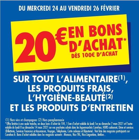20€ offerts en bons d'achat dès 100€ d'achat - Nice (06)